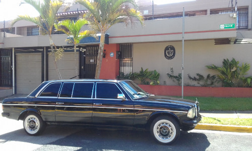 The Cuban embassy Costa Rica. 1984 300D Mercedes Lang Limo.
